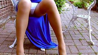 Thigh high split skirt and tan stockings