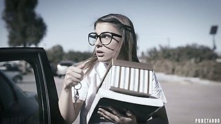 Two dudes fuck nerdy chick in glasses Kristen Scott and stretch her both holes