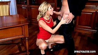 Delectable blonde in high heel s gets drilled hardcore anal after giving wild blowjob