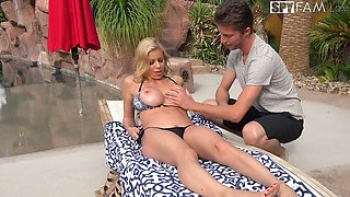 Sex-appeal step mom Alexis Fawx is fucked by stepson by the poolside