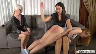 Double discipline for naughty schoolgirl