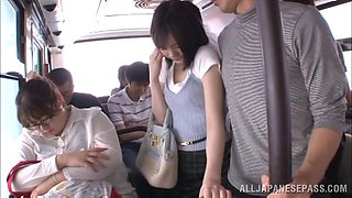 Lovely Japanese babe in sexy panties gets fucked in a public bus