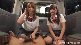 Schoolgirls First Blow In A Van