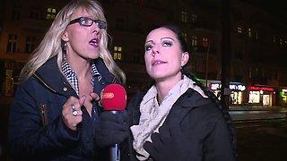 Really horny reporter Lana Vegas takes part in random hot orgy party