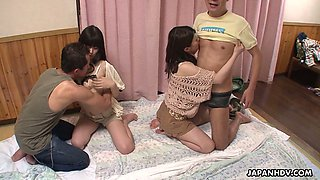 Always sex hungry Asian chick Jyuri Ayase arranges dirty swinger party at home