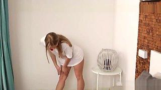 Flexible Teen Angel Calibri Bends Over Huge Cock