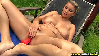 Cute blonde with big natural tits gets nailed outdoors