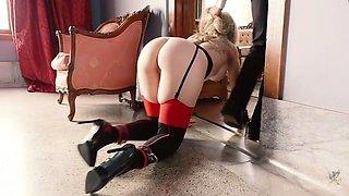 Kinky master and cruel mistress fuck tied up hooker Katy Kiss