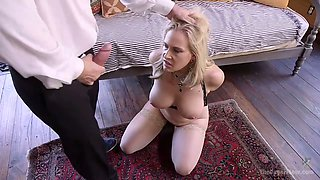 Rude dude John Strong fucks Young blonde in the presence of tied up wife