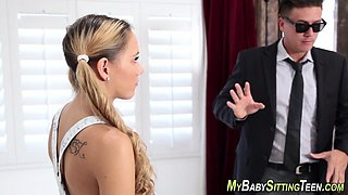 Tongued sitter creampied