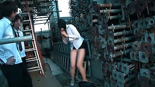 Sexy japanese girl gets oiled, licked & abused in public