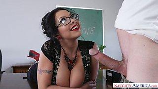 Curvy brunette teacher Sheridan Love fucks a horny stud