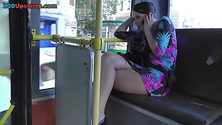 Posh upskirt cutie in a bus