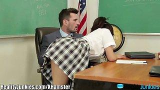 Chinese Schoolgirl rides her Well Hung Teacher