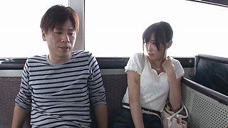 Cute Ai Yuzuki services dicks in public and makes guys cum
