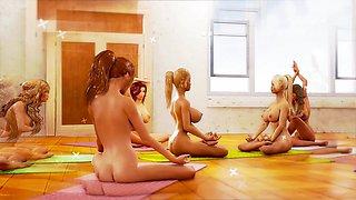 Big tits lesbian futa beauties having yoga tantric sex in a cool animation
