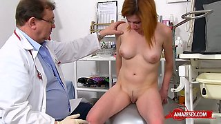 redhead doctor gaping with cumshot film