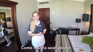 Lured with some cash busty maid Paola Guerra works on guest's cock