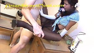Black pantyhose and blue blouse