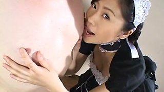 Fabulous Japanese whore in Amazing Maid, Blowjob JAV video