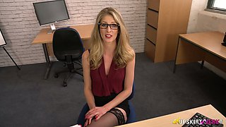Kinky blond head in glasses Leah flashes her sexy lacy thongs