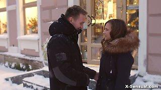 Frozen beautiful Russian hottie Stasya Stoune is warmed up in doggy pose