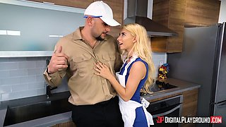 Great kitchen sex experience for petite blonde Kenzie Reeves