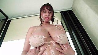 busty bikini girl in shower room