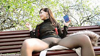 Jeny Smith seamless pantyhose public flash