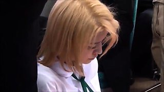 Gorgeous schoolgirl getting used by an older man in public