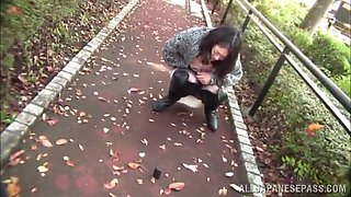 rakish amateur asian with big natural tits getting her hairy pussy fingered in a hot outdoor action