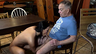 Old white man gets fucked in the ass by two aggressive