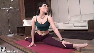Yummy yoga instructor Liza Kolt gets intimate with two horny dudes