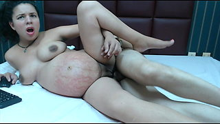 Pregnant Mexican getting a creampie
