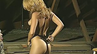 Fantastic classic blondie rimmed from behind and fed with a dick