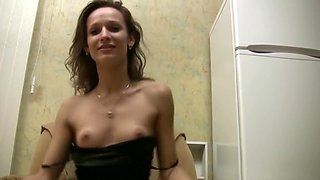 Drunk girl fingers her tight shaved pussy and delivers a nice blowjob