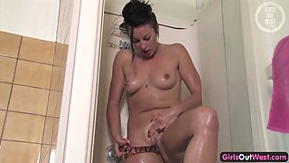 Pierced Australian pussy fucked with a toy