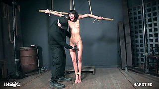 Dark haired MILF Vera King cums while tied up and abused on the table