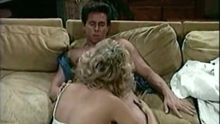 Sweet classic white blondie on the couch sucks big dick