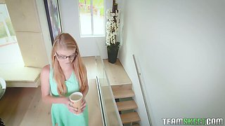 Young assistant in glasses  Hannah Hays turned to be very slutty chick