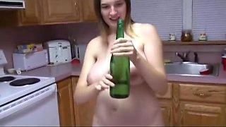 Pregnant amateur wine bottle insertion