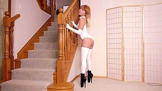 white stretch pvc hotness