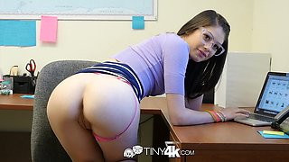 TINY4K Office secretary FUCKS for promotion