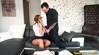 Redhead skyler bend over seductively while pounded hardcore