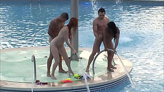 First-class poolside group sex with Yoha Galvez and Diana Dean