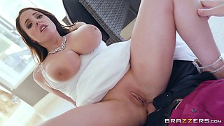 Horny bride Angela White craves to feel an erected dick in her vagina