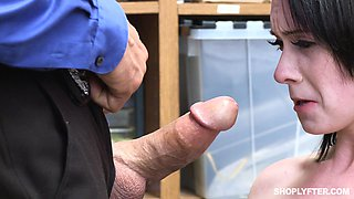 Athena Rayne is forced to suck and fuck a fat cock for shoplifting