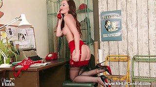 Brunette Sophia Smith takes customer service to next level on phone in retro lingerie nylon heels