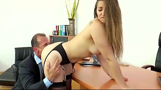 'Dani D' gets fucked and creampied in a lawyer's office