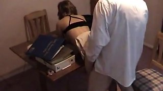 Sexy college girl seduces the boss !